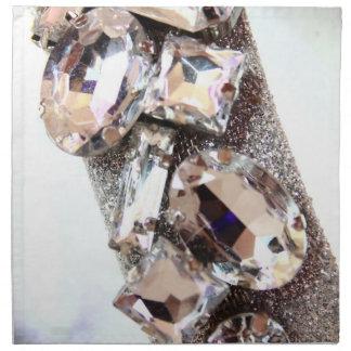 Diamantes artificiales de plata grandes servilleta