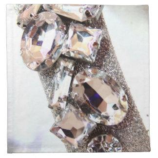 Diamantes artificiales de plata grandes servilletas