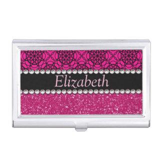 Diamantes artificiales rosados y negros del brillo caja de tarjetas de presentación