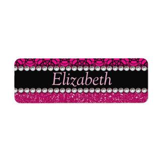 Diamantes artificiales rosados y negros del brillo etiqueta de remitente