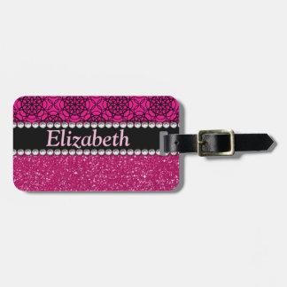 Diamantes artificiales rosados y negros del brillo etiquetas maleta