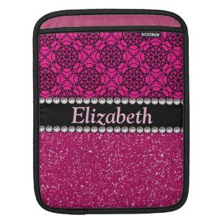 Diamantes artificiales rosados y negros del brillo funda para iPads
