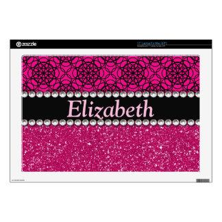 Diamantes artificiales rosados y negros del brillo calcomanía para 43,2cm portátil