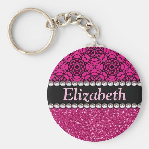 Diamantes artificiales rosados y negros del brillo llavero personalizado