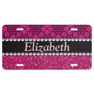 Diamantes artificiales rosados y negros del brillo placa de matrícula