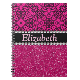 Diamantes artificiales rosados y negros del brillo spiral notebooks