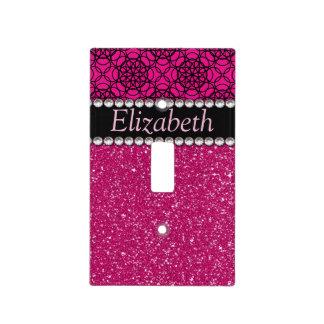 Diamantes artificiales rosados y negros del brillo cubiertas para interruptor