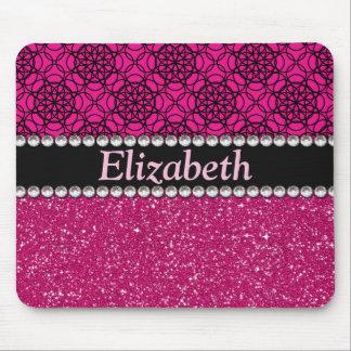Diamantes artificiales rosados y negros del brillo alfombrilla de ratón
