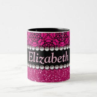 Diamantes artificiales rosados y negros del brillo taza de café de dos colores