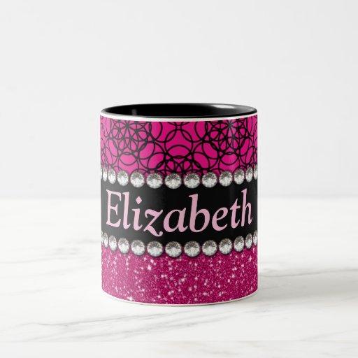 Diamantes artificiales rosados y negros del brillo taza de dos tonos
