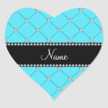 Diamantes azules claros conocidos personalizados colcomanias corazon personalizadas