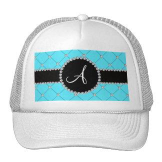 Diamantes azules claros del penacho del monograma gorros bordados