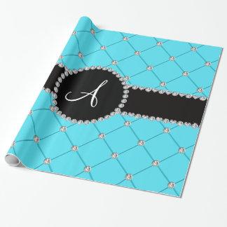 Diamantes azules claros del penacho del monograma papel de regalo