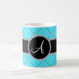 Diamantes azules claros del penacho del monograma taza de café