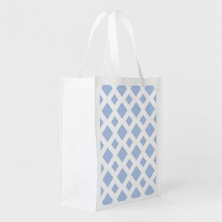 Diamantes azules claros en blanco bolsas para la compra