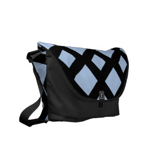 Diamantes azules claros en negro bolsas de mensajería