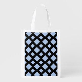 Diamantes azules claros en negro bolsas reutilizables