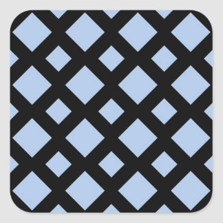 Diamantes azules claros en negro calcomanías cuadradas