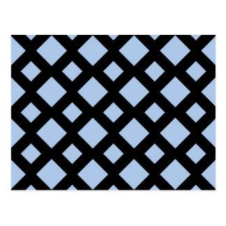 Diamantes azules claros en negro postal