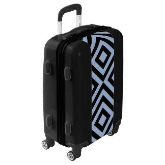 Diamantes azules claros y negros y galones maletas