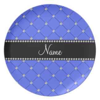 Diamantes azules conocidos personalizados del pena plato