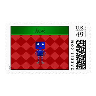 Diamantes azules conocidos personalizados del rojo sello postal