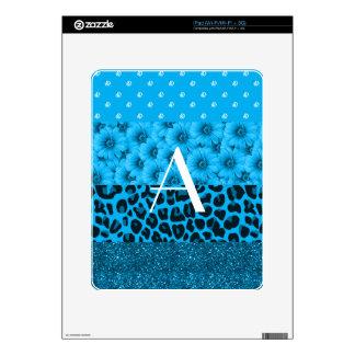 Diamantes azules del brillo de las flores del leop iPad calcomanías