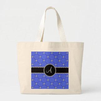 Diamantes azules del penacho del monograma bolsa tela grande