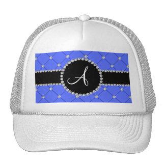 Diamantes azules del penacho del monograma gorras