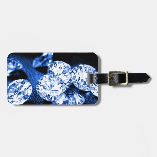 Diamantes azules etiquetas maleta