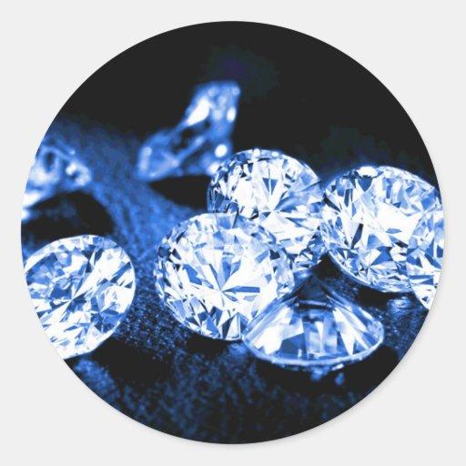 Diamantes azules pegatina redonda