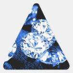 Diamantes azules pegatina triangular