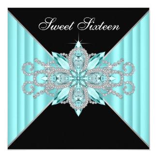 Diamantes azules turquesas y cumpleaños del negro invitación 13,3 cm x 13,3cm