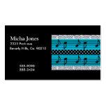 Diamantes azules y negros del lunar y notas musica tarjeta de visita