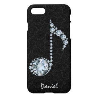Diamantes blancos de la nota de la música sobre funda para iPhone 7