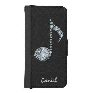 Diamantes blancos de la nota de la música sobre funda tipo billetera para iPhone 5