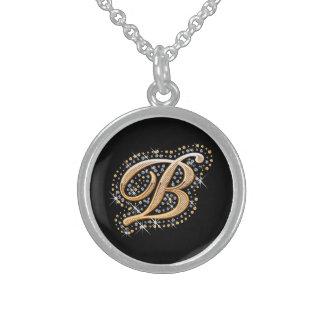 """Diamantes blancos e inicial de oro """"B"""" Neklace Collar"""