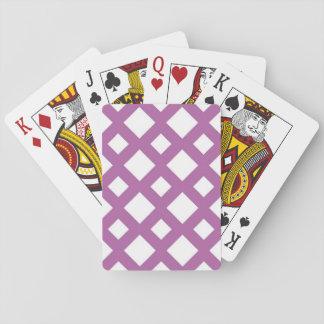 Diamantes blancos en la lavanda baraja de póquer