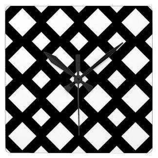 Diamantes blancos en negro reloj cuadrado