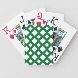 Diamantes blancos en verde baraja de cartas bicycle
