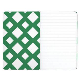 Diamantes blancos en verde cuaderno grapado