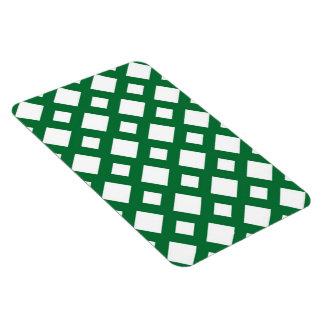 Diamantes blancos en verde imán rectangular