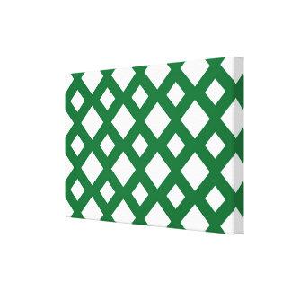 Diamantes blancos en verde impresiones en lona