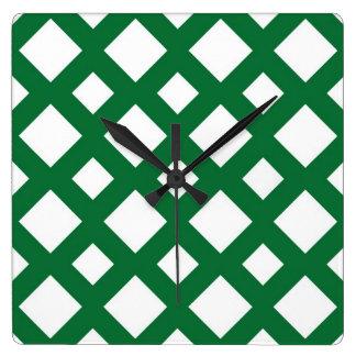 Diamantes blancos en verde reloj cuadrado