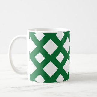 Diamantes blancos en verde tazas