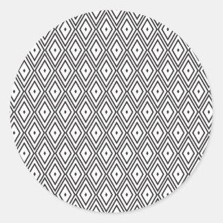Diamantes blancos y negros pegatina redonda