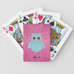 Diamantes bling personalizados del búho del nombre baraja de cartas