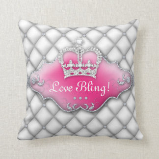 Diamantes BW de princesa Crown Pillow Tufted Satin Cojín