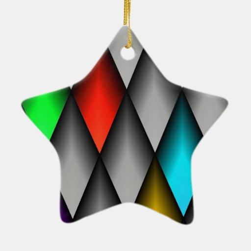 Diamantes coloridos adorno de cerámica en forma de estrella