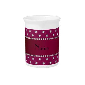 Diamantes conocidos personalizados de la púrpura d jarras de beber